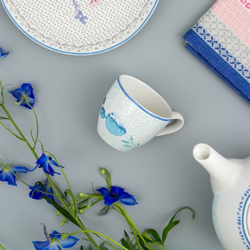 荷蘭FloraCastle 水藍色桔梗花圖紋咖啡杯 (250毫升)