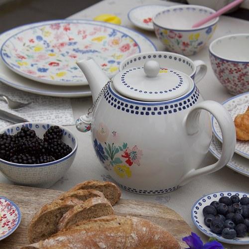 荷蘭FloraCastle 藍色手繪方塊圖紋茶壺