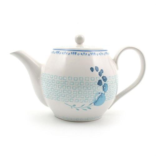 荷蘭FloraCastle 水藍色桔梗花圖紋茶壺