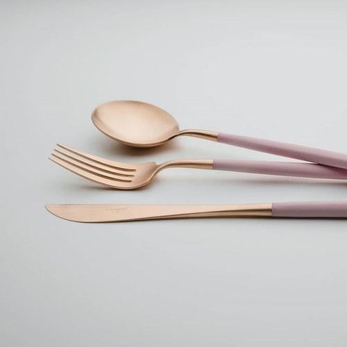 葡萄牙Cutipol 頂級GOA餐具組 (粉x霧金)