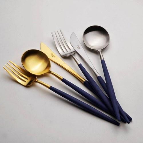 葡萄牙Cutipol 頂級GOA餐具組 (深藍x霧金)