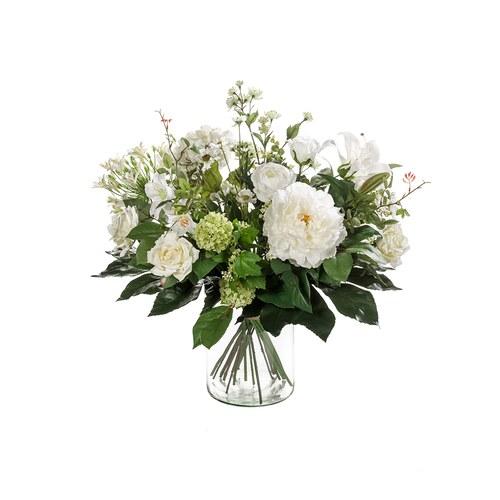 荷蘭Emerald人造花藝 白色禮讚花束 (不含花瓶)