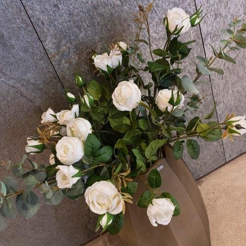 荷蘭Emerald人造花藝 白色玫瑰花 (長60公分)