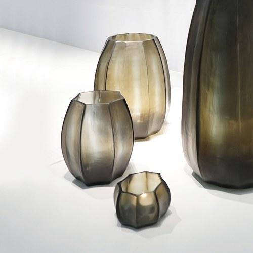德國Guaxs玻璃花器 KOONAM系列 (灰褐、高16公分)