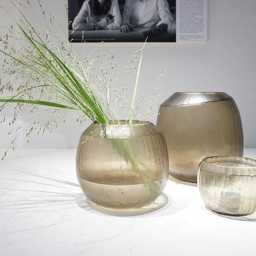 德國Guaxs玻璃花器 MALIA系列 (煙燻灰、高17公分)