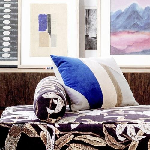 荷蘭HkLiving 歐風藝術拼色靠枕(寶藍+藕粉)