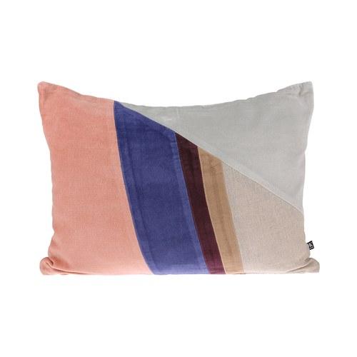 荷蘭HkLiving 歐風藝術拼色靠枕(灰白+粉橘)