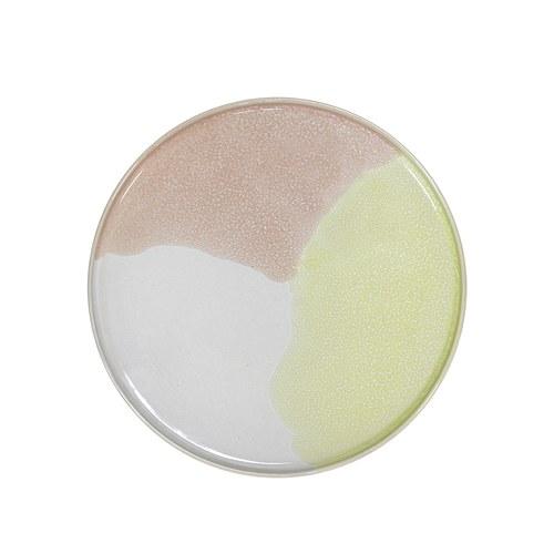 荷蘭HkLiving 粉彩調色藝術圓型餐盤(杏桃+檸檬黃)