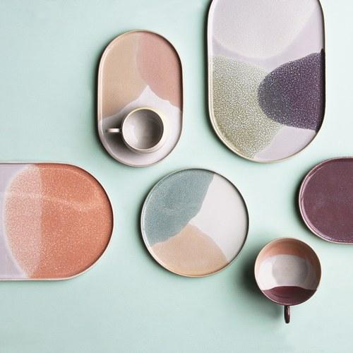荷蘭HkLiving 粉彩調色藝術橢圓餐盤(杏桃+粉膚)