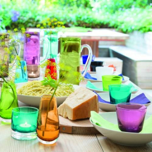 英國LSA 艷彩透底廣口玻璃杯 (松石藍)