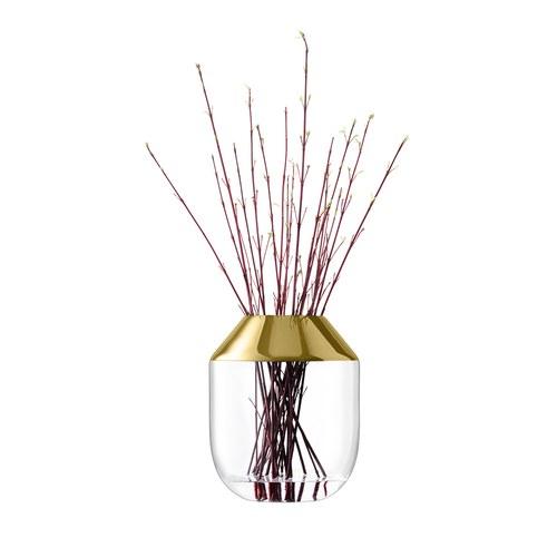英國LSA 金屬光口玻璃花器 (金、高39公分)