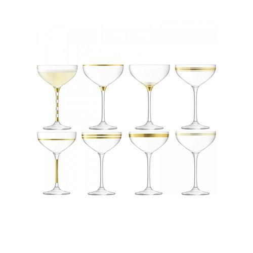 英國LSA 金絲系列香檳淺碟杯8入組
