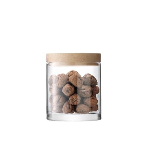 英國LSA 木蓋圓玻璃收納罐 (直徑16公分)