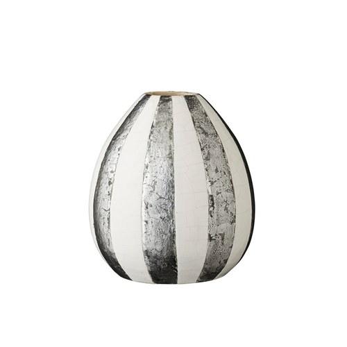 丹麥LeneBjerre 瓜形直條紋桌飾罐(銀白)