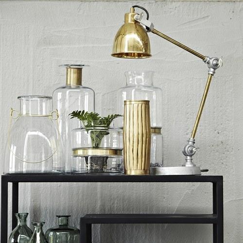 丹麥LeneBjerre 透明鑲金圈玻璃花器