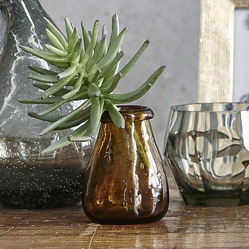 丹麥LeneBjerre 不規則壓紋玻璃花器 (棕)