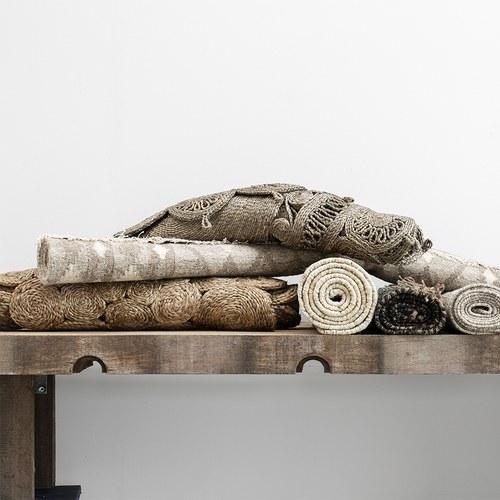 丹麥LeneBjerre 木紋圖騰編織橢圓型地毯