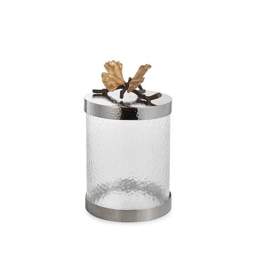 美國MichaelAram工藝飾品 銀杏蝴蝶系列玻璃收納罐 (高21.6公分)