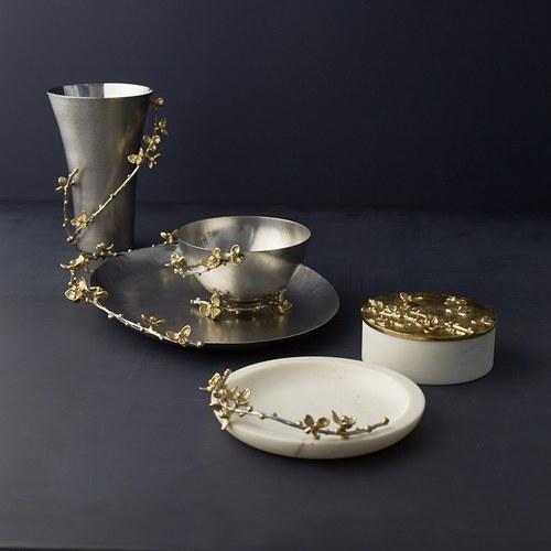 美國MichaelAram工藝飾品 白英苦甜藤大理石托盤
