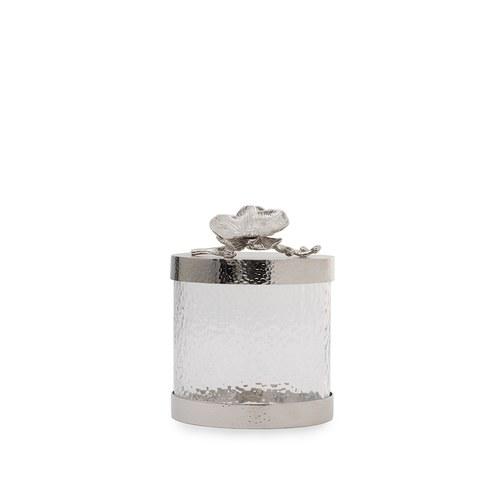 美國Michael Aram工藝飾品 銀砌白蘭花系列玻璃收納罐 (高15.2公分)