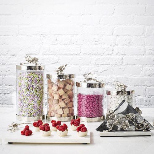 美國MichaelAram工藝飾品 銀砌白蘭花系列玻璃收納罐 (高15.2公分)