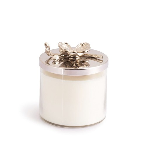 美國MichaelAram工藝飾品 銀砌白蘭花系列經典蠟燭