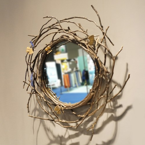 美國Michael Aram工藝飾品 銀杏蝴蝶系列圓鏡