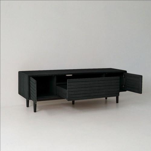 丹麥Sketch 密格簡約橡木電視櫃 (黑)