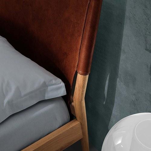 義大利OliverB NORWAY皮革雙人床架 (深棕、Standard)