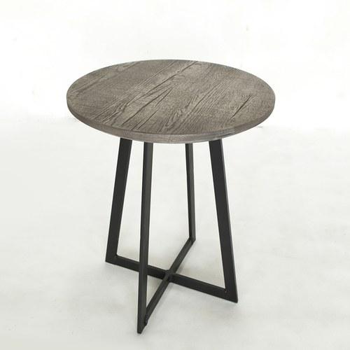 荷蘭PURE 工業風橡木圓形邊桌 (岩灰、直徑46公分)
