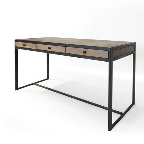 荷蘭PURE 工業風矩形支架橡木書桌