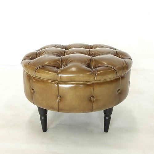 荷蘭PURE 復古縫釦皮革圓形腳凳 (深駝、直徑60公分)