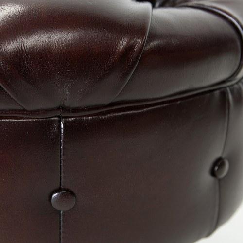 荷蘭PURE 復古縫釦皮革圓形腳凳 (棕、直徑60公分)