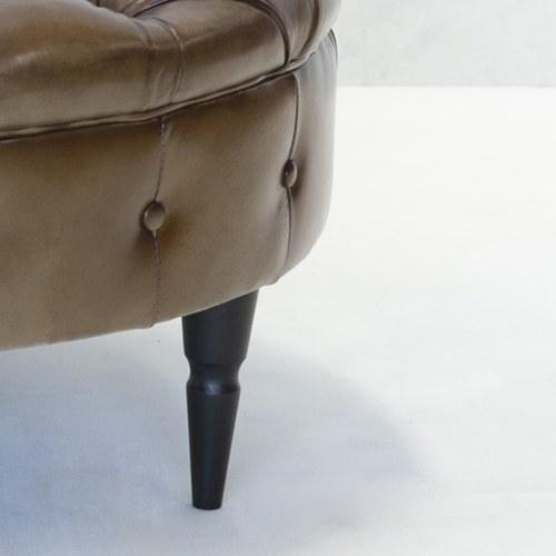 荷蘭PURE 復古縫釦皮革圓形腳凳 (深駝、直徑80公分)