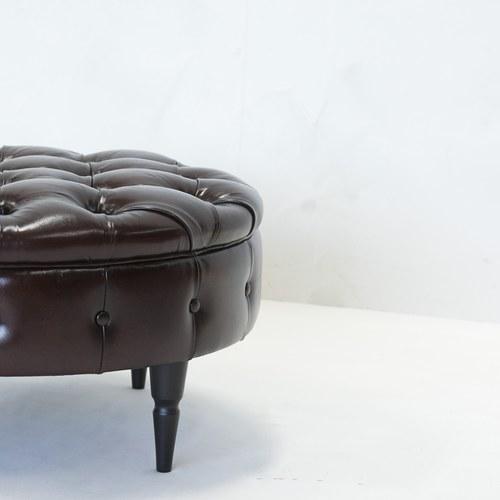 荷蘭PURE 復古縫釦皮革圓形腳凳 (棕、直徑80公分)