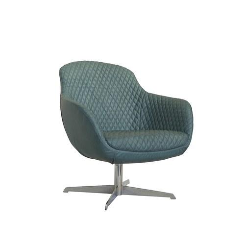 荷蘭PURE 復古奢華格菱紋單人椅 (松石藍)