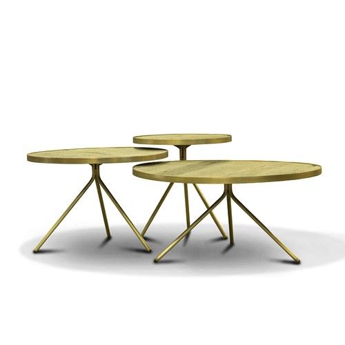 荷蘭PURE 極簡工業風圓形邊桌 (黃銅、直徑45公分)