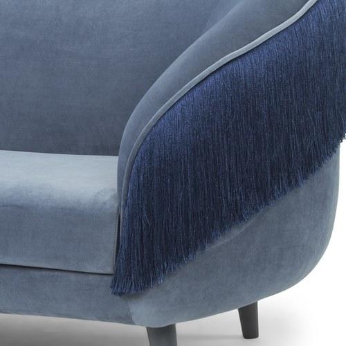 夏馬選物ShiamalSelect 法式流蘇拼色三人沙發 (藍)