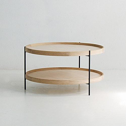 丹麥Sketch 立體邊緣雙層圓形茶几 (橡木、直徑69cm)