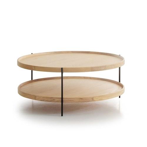 丹麥Sketch 立體邊緣雙層圓形茶几 (橡木、直徑90cm)