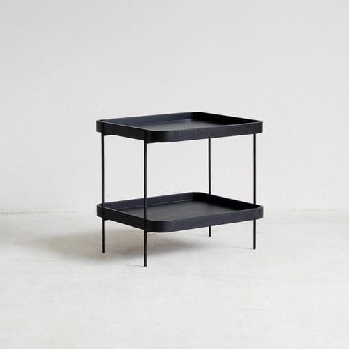 丹麥Sketch 立體邊緣雙層方形邊桌 (黑)