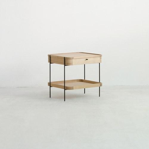 丹麥Sketch 立體邊緣雙層方形收納邊桌 (橡木)