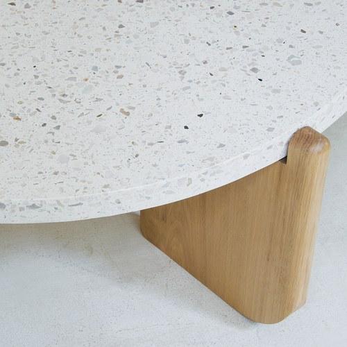 丹麥Sketch 北歐簡約 水磨石面崁入橡木茶几(白、直徑95cm)