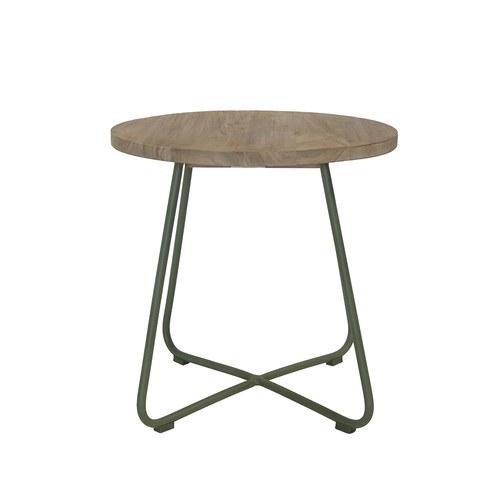 荷蘭Woven+戶外家具 探戈舞曲柚木邊桌 (青苔綠)