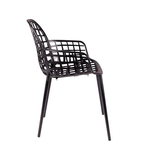 荷蘭Zuiver 艾伯特戶外花園簡約弧形扶手單椅(黑)