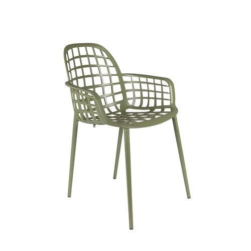 荷蘭Zuiver 艾伯特戶外花園簡約弧形扶手單椅(橄欖綠)