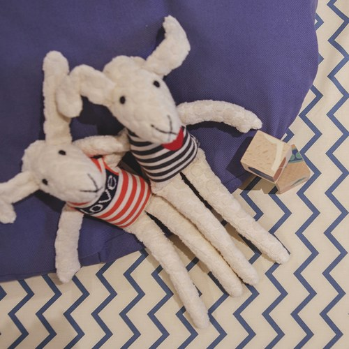 西班牙Nobodinoz有機棉 兒童遊戲爬行地墊 (鋸齒線條藍)