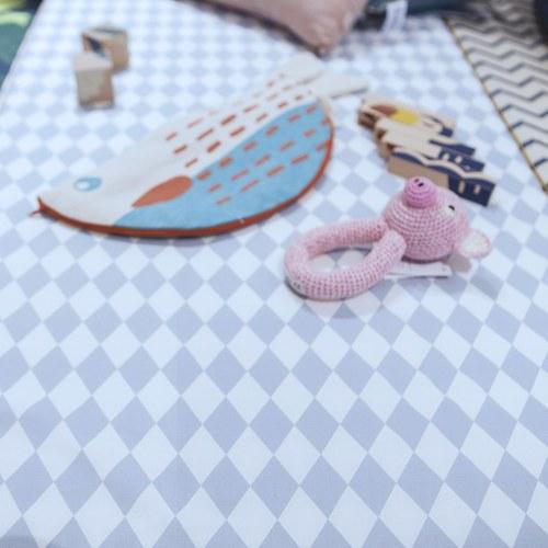 西班牙Nobodinoz有機棉 兒童遊戲爬行地墊 (幾何方塊藍)