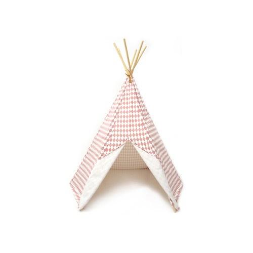西班牙Nobodinoz 印第安帳篷兒童遊戲屋 (幾何方塊粉)