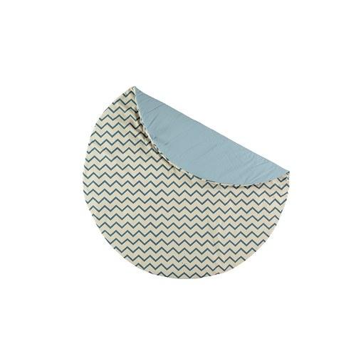 西班牙Nobodinoz有機棉滿月圓形遊戲地毯 (145cm、鋸齒線條藍)